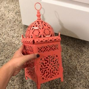 Super cute coral pink lantern / candle holder